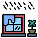 downpour, rainy, room, season, window icon