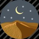 moon, mountain, muslim, night, night time, ramadan, stars