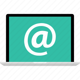 at, email, laptop, online, sign icon