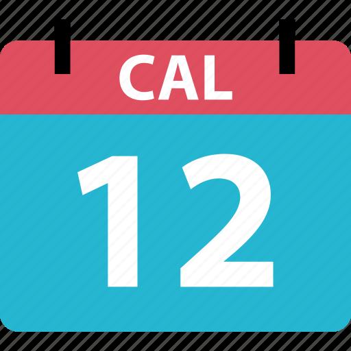 calendar, even, number, twelve icon