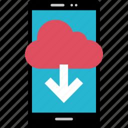 arrow, cloud, down, online icon