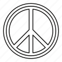 circle, line, love, outline, pacifist, peace, round icon