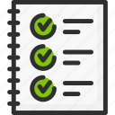 feedback, notebook, quiz, rate, rating, test, tick icon