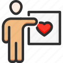 feedback, heart, like, man, rating, vote icon