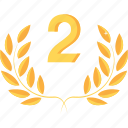 achievement, award, gold, prize, reward, second, winner icon