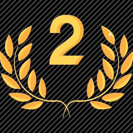 achievement, award, gold, prize, reward, second, winner icon