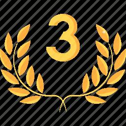 award, gold, medal, prize, rank, reward, third icon