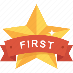 award, first, gold, medal, reward, star, streamer icon