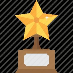 accolade, award, first, gold, reward, star, trophy icon