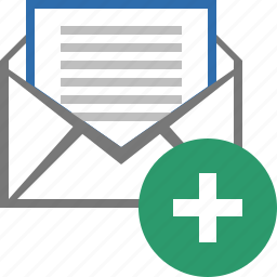 add, email, envelope, letter, mail, message, write icon