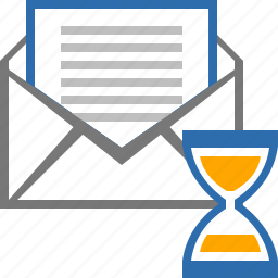 clock, draft, email, mail, message, sand, wait icon