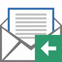 email, envelope, left, letter, mail, message, replied icon