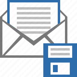 email, floppy, letter, mail, message, save, save as icon