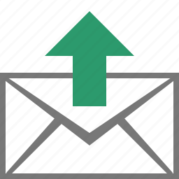 email, envelope, letter, mail, message, send, upload icon