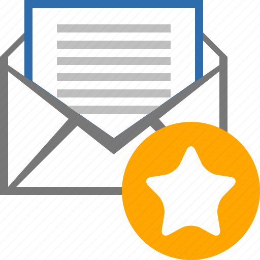 bookmark, email, favorite, mail, message, star, starred icon