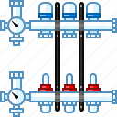 balancing, heat, heating, manifold, packages, radiant, valve icon