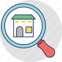 house selection, real estate search, relocation, search house, search listing icon