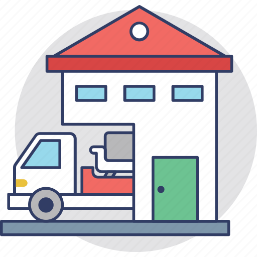 change accommodation, house removal, movers, moving house, relocation icon