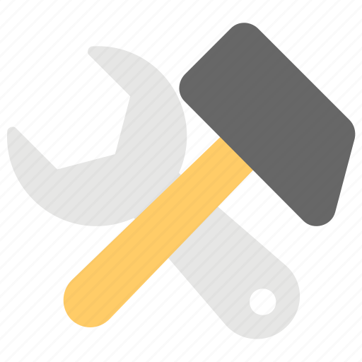 garage tools, hand tools, repairing tools, spanner and hammer, work tools icon