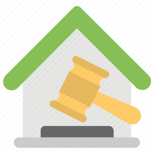auction, auction bidding, bid and ask, gavel inside home, house bid, tender, trail icon