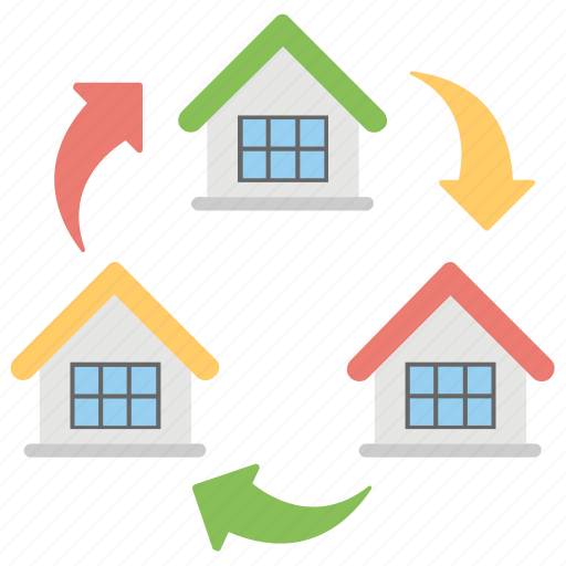 change accommodation, home exchange, house removal, moving house, relocation icon