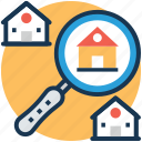 house selection, real estate search, relocation, search building, search home icon