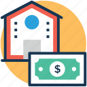 house cost, house financing, mortgage, property cost, property value icon