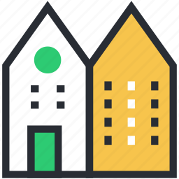 apartments, building, city building, flats, residential flats icon