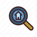 building, home, house, looking, real estate, searching icon