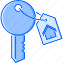 badge, estate, house, key, real, realtor icon