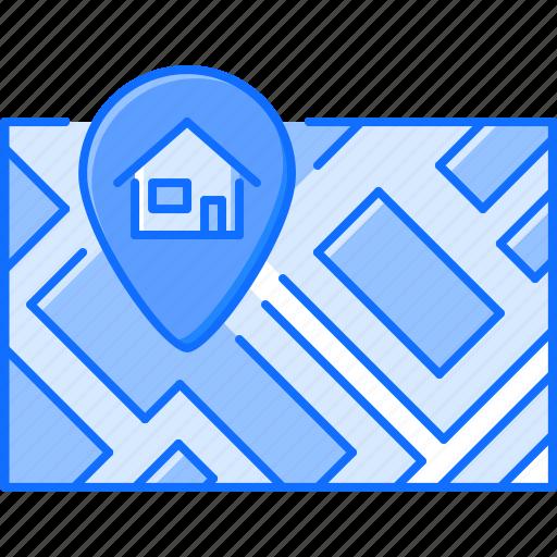 address, estate, house, map, pin, real, realtor icon