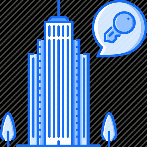 apartment, estate, house, key, real, skyscraper icon