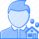 real, realtor, estate, house, manager, coin, man