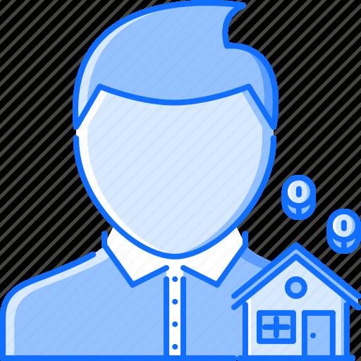 coin, estate, house, man, manager, real, realtor icon