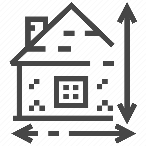 architecture, estate, house, plan, property, real, size icon