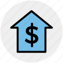 dollar, home, house, money, online, sign, think