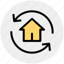 home, house, refresh, rotate, sync, sync home icon