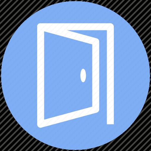 door, enter, entrance, exit, join, open, open door icon