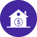 dollar, estate, home, house, property, real estate icon