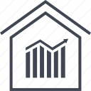 bars, data, home, house, up icon