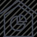 data, graph, home, house, seo icon
