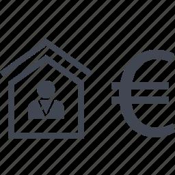 buy, euro, home, house, realtor icon
