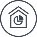 data, graph, home, house, report icon