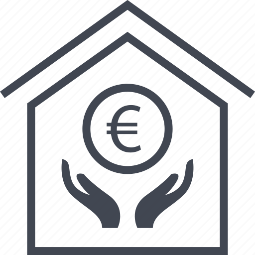buy, euro, hand, home, house icon