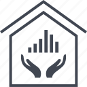 data, graph, hands, home, house icon
