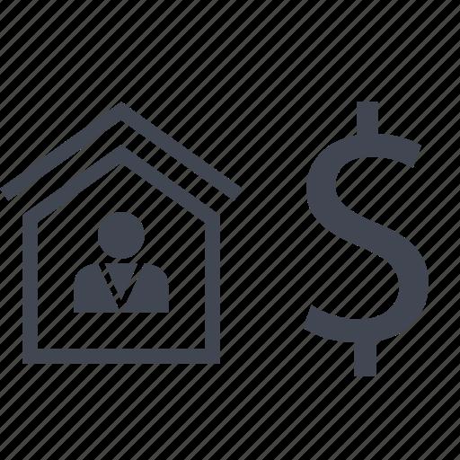 dollar, home, house, realtor, sign icon