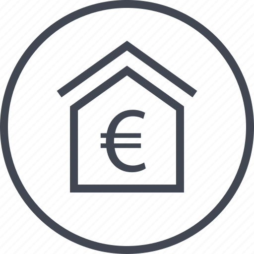 euro, home, house, online icon