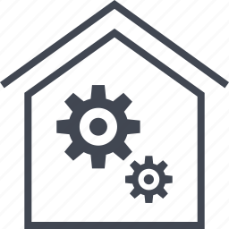 gears, home, house, settings, two icon