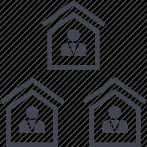 houses, neighbors, properties, property, three icon