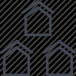 buy, houses, property, three icon